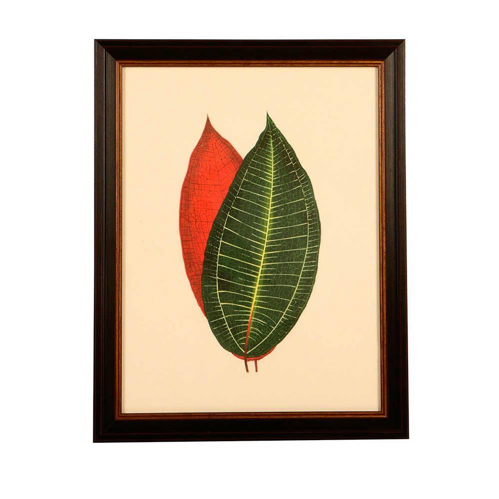 Quadro Folhas Verde e Vermelha em Madeira - 46x37 cm