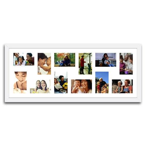 Quadro de Fotos 12 Moments - Moldura Branca - em Madeira - 89x36 cm
