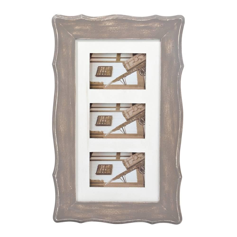 Quadro de Fotos - 3 Fotos 10x15 cm - Bege em Madeira - 53x33 cm