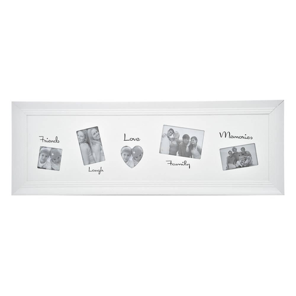 Quadro de Fotos Amigos Branco em MDF - 102x35 cm