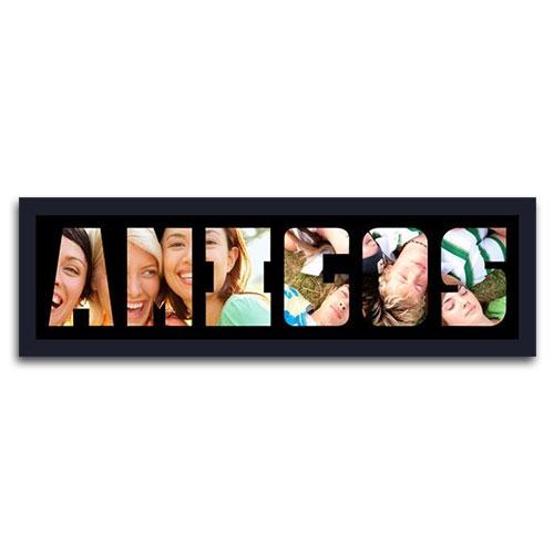Quadro de Fotos Amigos - Moldura Preta - em Madeira - 70x22 cm