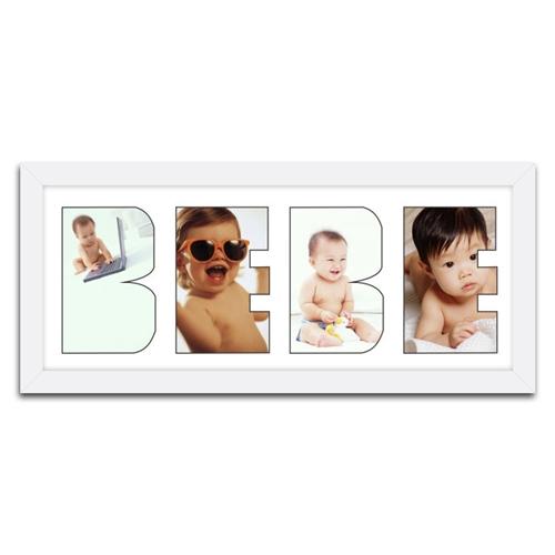 Quadro de Fotos Bebê - Moldura Branca - em Madeira - 51x23 cm