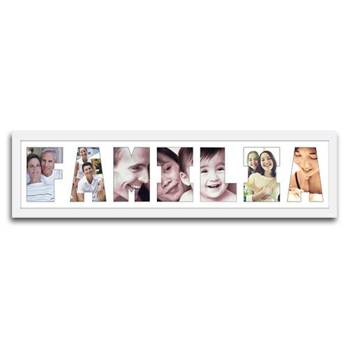 Quadro de Fotos Família - Moldura Branca - em Madeira - 80x22 cm