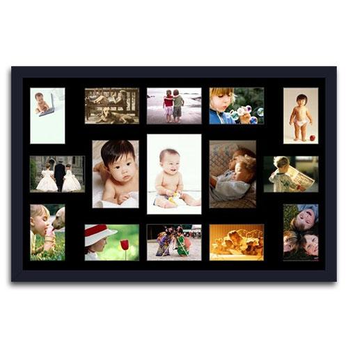 Quadro de Fotos Fifteen Moments - Moldura Preta - em Madeira - 82x52 cm