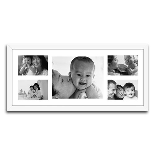 Quadro de Fotos Five Moments - Moldura Branca - em Madeira - 66x30 cm