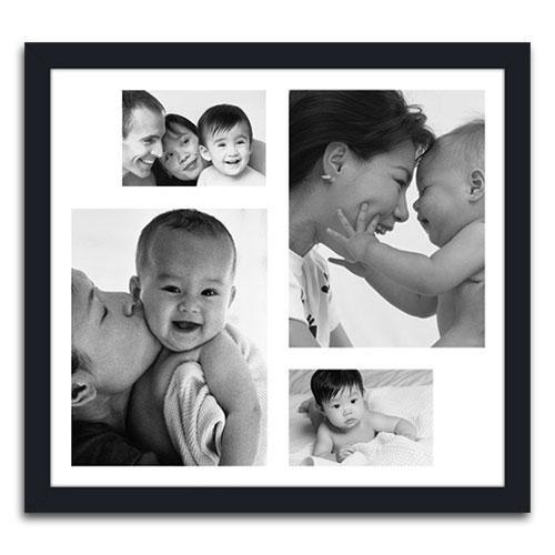 Quadro de Fotos Four Moments - Moldura Preta - em Madeira - 48x43 cm