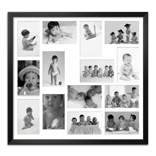 Quadro de Fotos Fourteen Moments - Moldura Preta - em Madeira - 60x53 cm