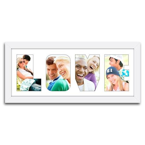 Quadro de Fotos Love - Moldura Branca - em Madeira - 51x23 cm