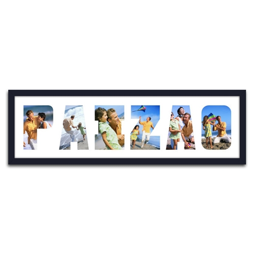 Quadro de Fotos Paizão - Moldura Preta - em Madeira - 70x22 cm