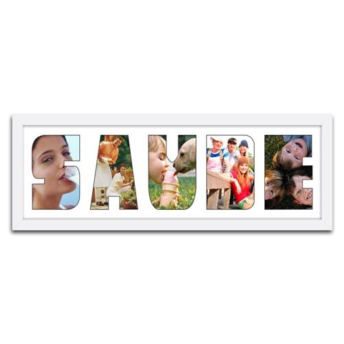 Quadro de Fotos Saúde - Moldura Branca - em Madeira - 61x22 cm