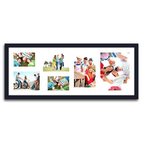 Quadro de Fotos Six Moments - Moldura Preta - em Madeira - 82x33 cm