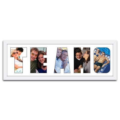 Quadro de Fotos Te amo - Moldura Branca - em Madeira - 63x22 cm