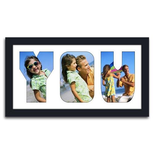 Quadro de Fotos You - Moldura Preta - em Madeira - 39x22 cm