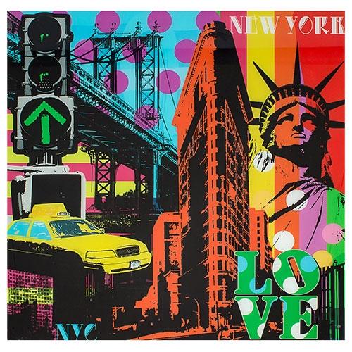 Quadro Frente de Vidro Love NY com Fundo Colorido Fullway - 80x80 cm