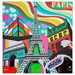 Quadro Frente de Vidro Torre Eiffel Fundo Colorido - 80x80 cm