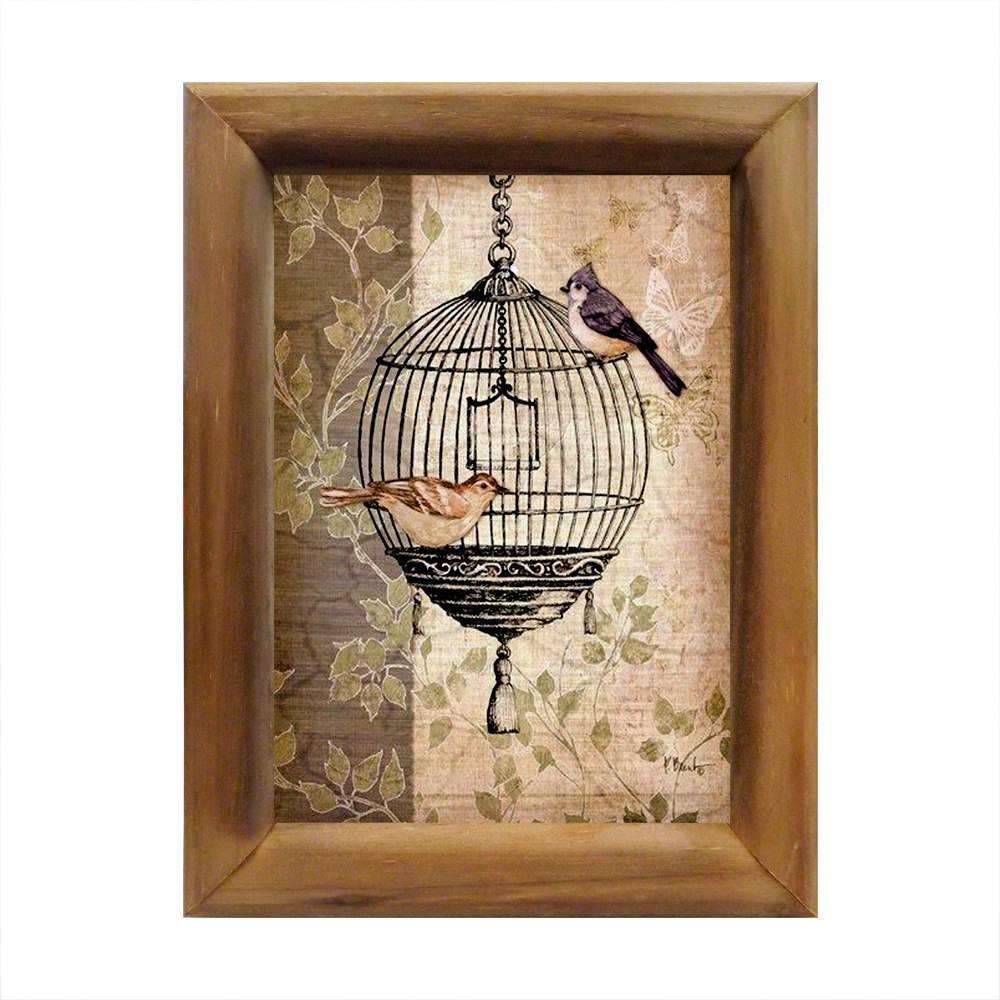 Quadro Gaiola com Casal de Pássaros em Madeira - 26x20 cm