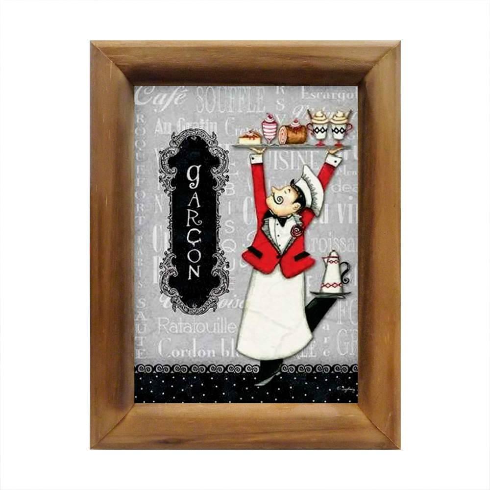 Quadro Garçom Preto, Branco e Vermelho em Madeira - 26x20 cm