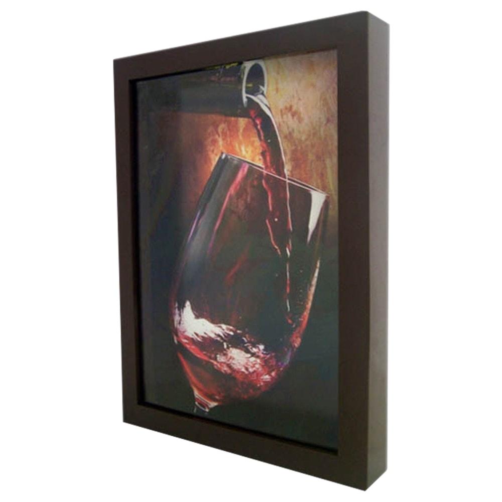 Quadro Garrafa e Cálice Vinho Médio - em MDF - 32,5x23 cm