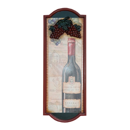 Quadro Garrafa de Vinho em Madeira - 80x30 cm