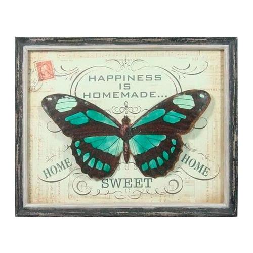 Quadro Happiness Is Homemade Sweet Borboleta Vintage em Madeira - 51x41 cm