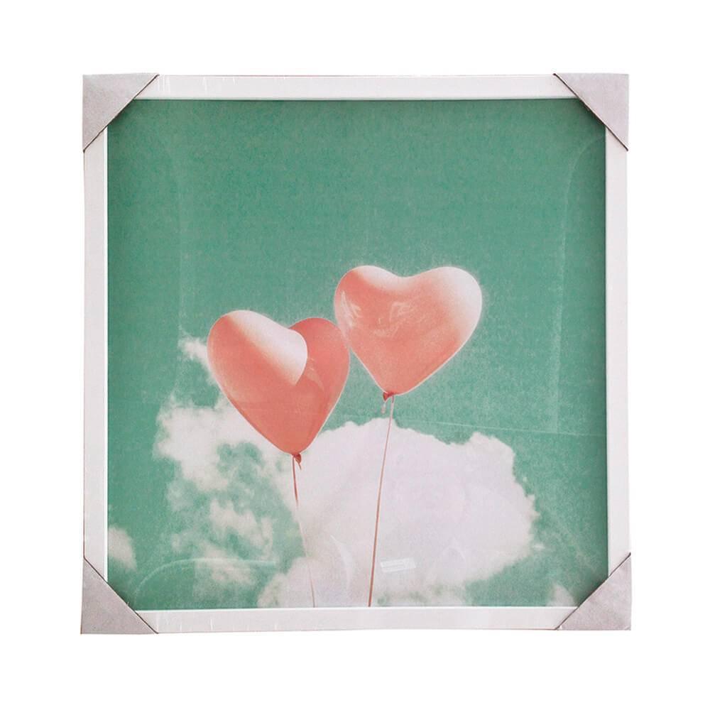 Quadro Heart Baloons Fundo Céu com Moldura - Urban - 50x50 cm