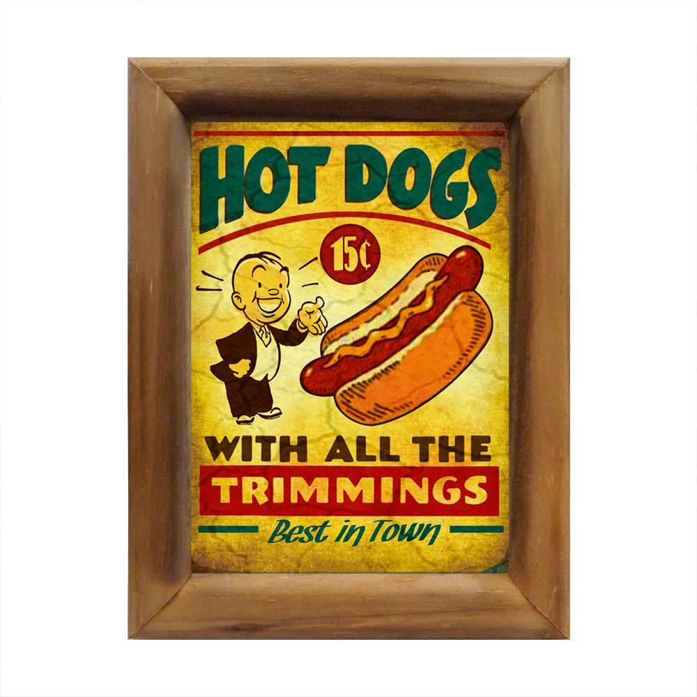 Quadro Hot Dogs Vintage com Moldura em Madeira - 26x20 cm