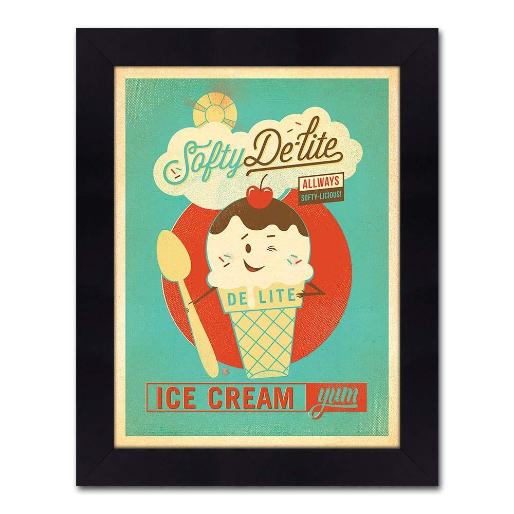 Quadro Ice Cream Vintage com Moldura em Madeira - 48x38 cm