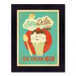 Quadro Ice Cream Vintage com Moldura em Madeira