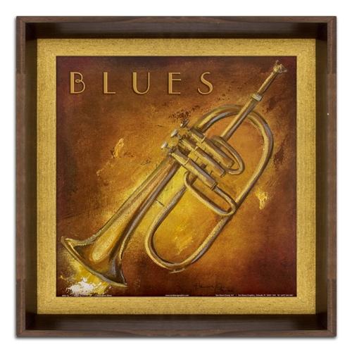 Quadro Instrumento Musical Ritmo Blues em Madeira - 40x40 cm