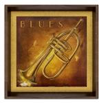 Quadro Instrumento Musical Ritmo Blues em Madeira