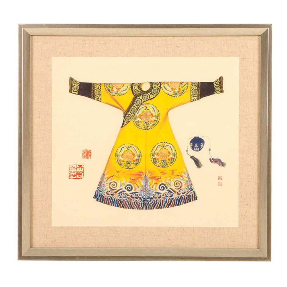 Quadro Kimono Chinês Amarelo em Madeira - 45x42 cm
