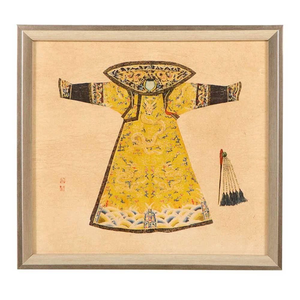 Quadro Kimono Chinês Amarelo e Preto em Madeira - 33x33 cm