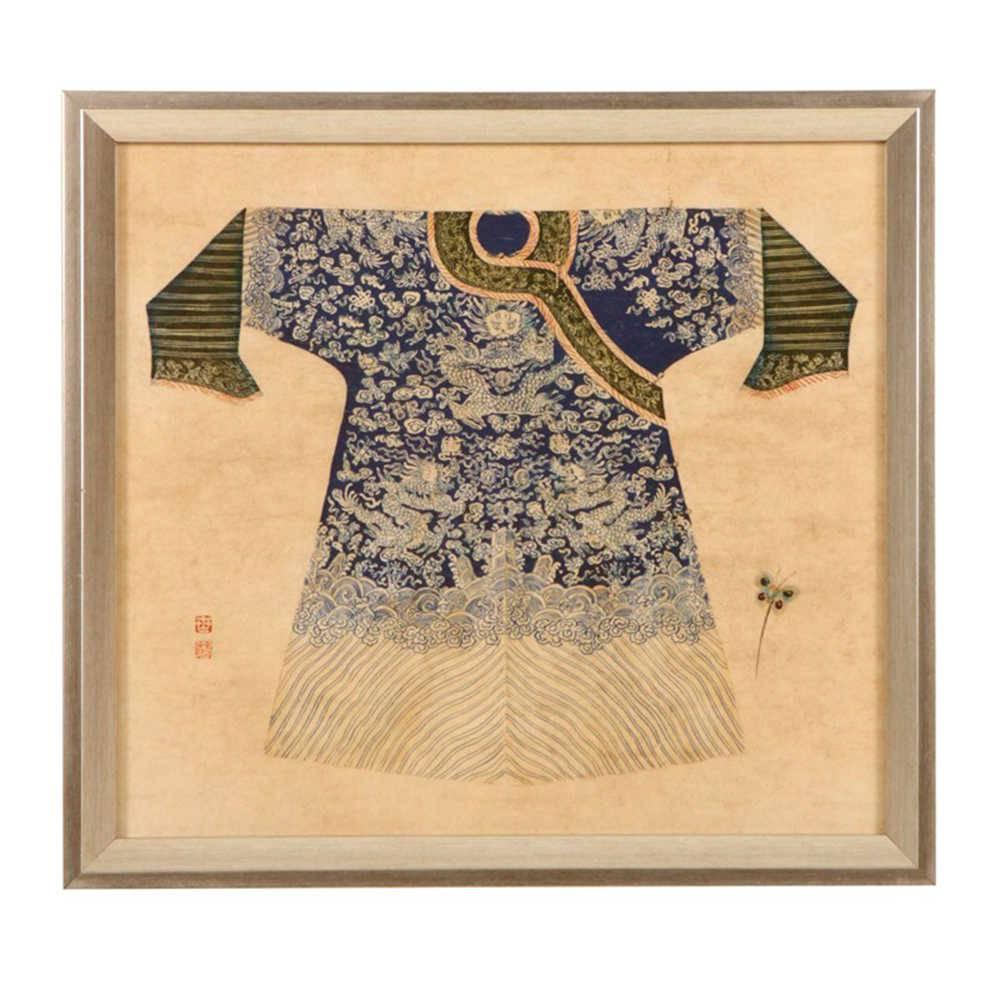 Quadro Kimono Chinês Azul e Branco em Madeira - 33x33 cm