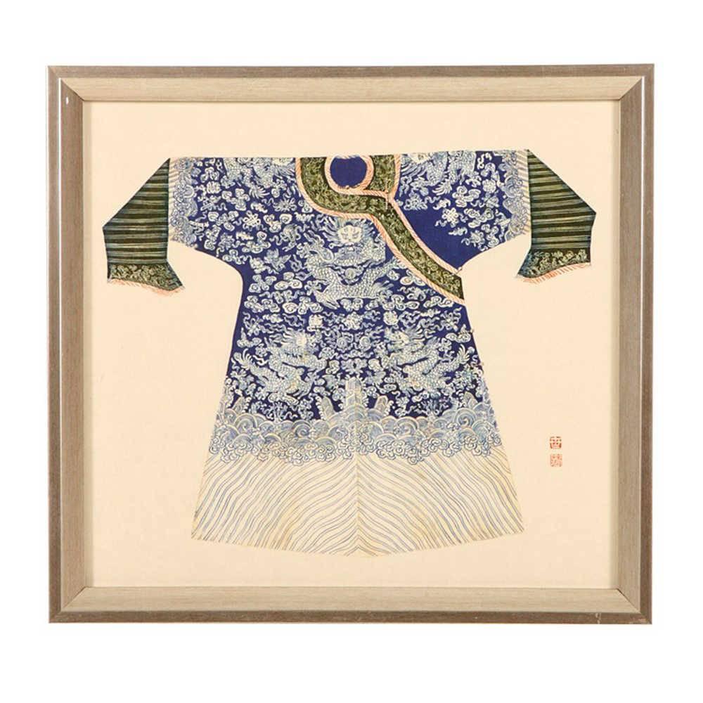 Quadro Kimono Chinês Azul em Madeira - 33x33 cm