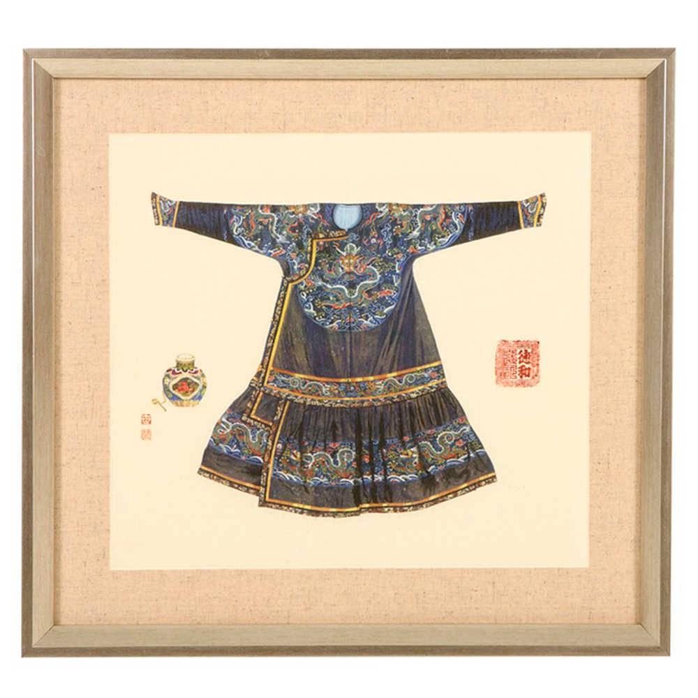Quadro Kimono Chinês Colorido Grande em Madeira - 45x42 cm