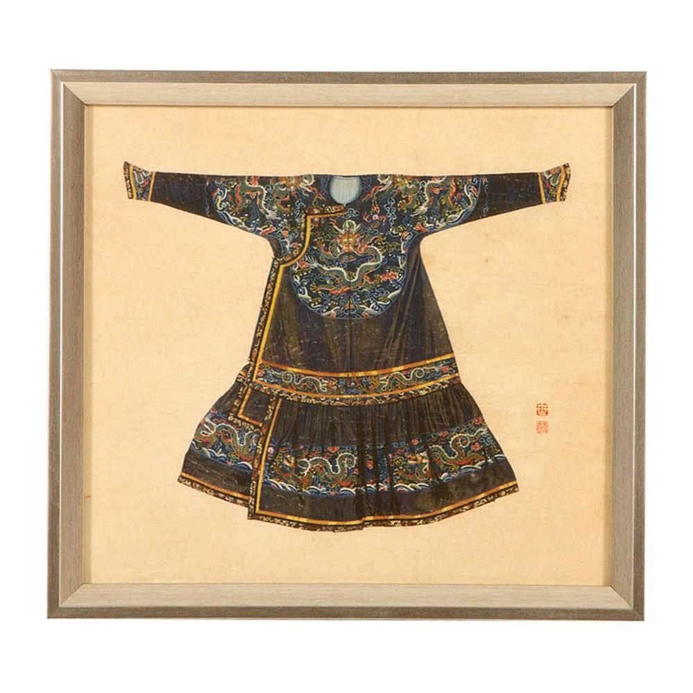 Quadro Kimono Chinês Colorido Pequeno em Madeira - 33x33 cm