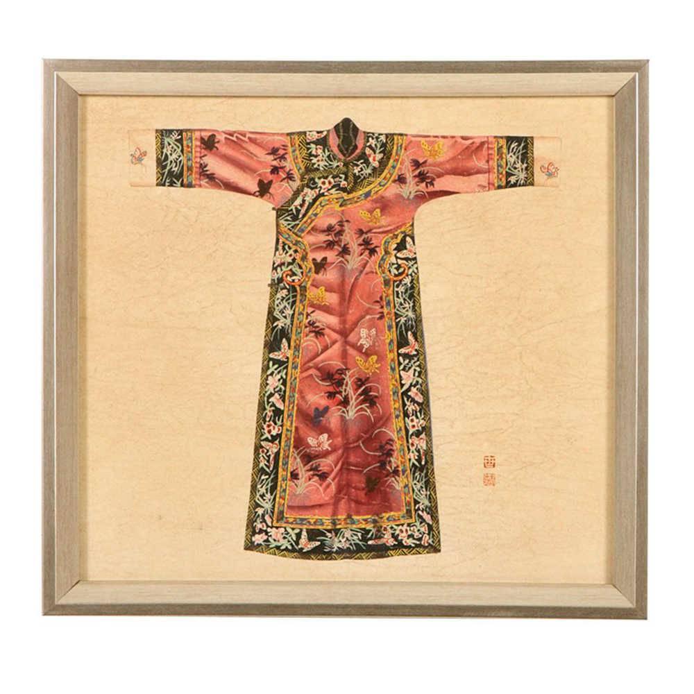 Quadro Kimono Chinês Rosa em Madeira - 33x33 cm
