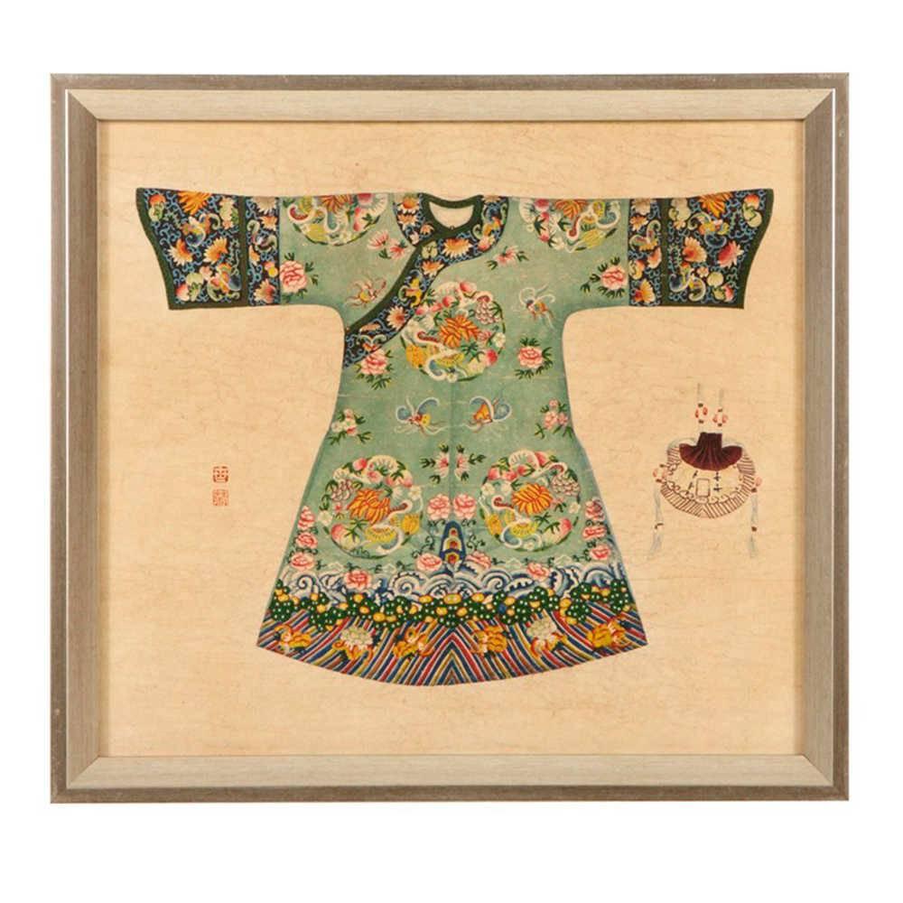 Quadro Kimono Chinês Verde Claro em Madeira - 33x33 cm