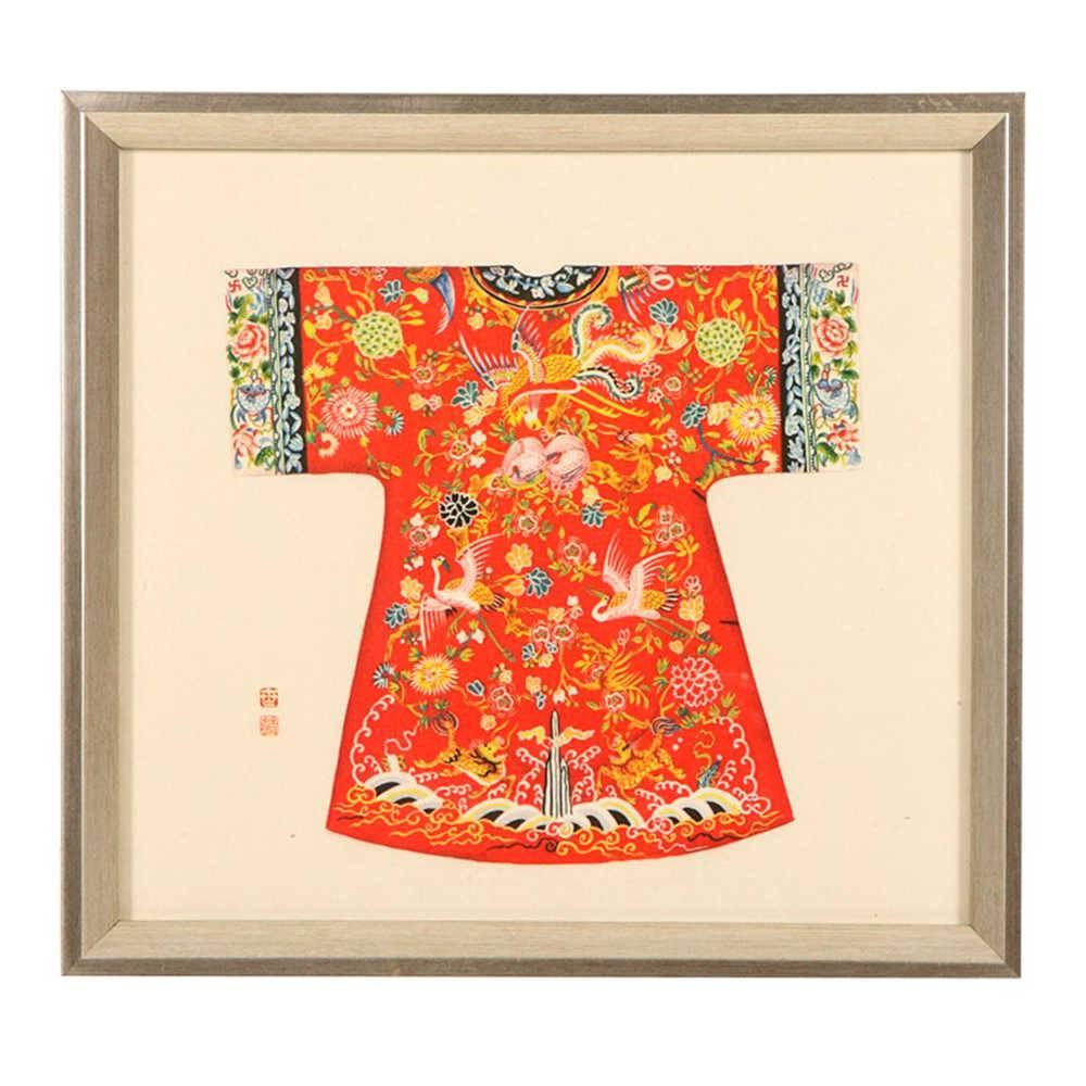Quadro Kimono Chinês Vermelho Estampado em Madeira - 33x33 cm