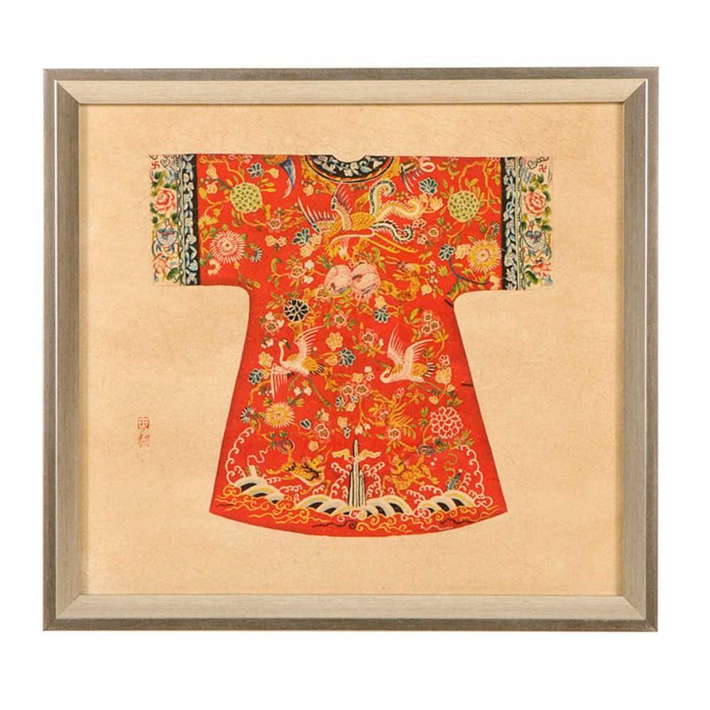 Quadro Kimono Chinês Vermelho em Madeira - 33x33 cm