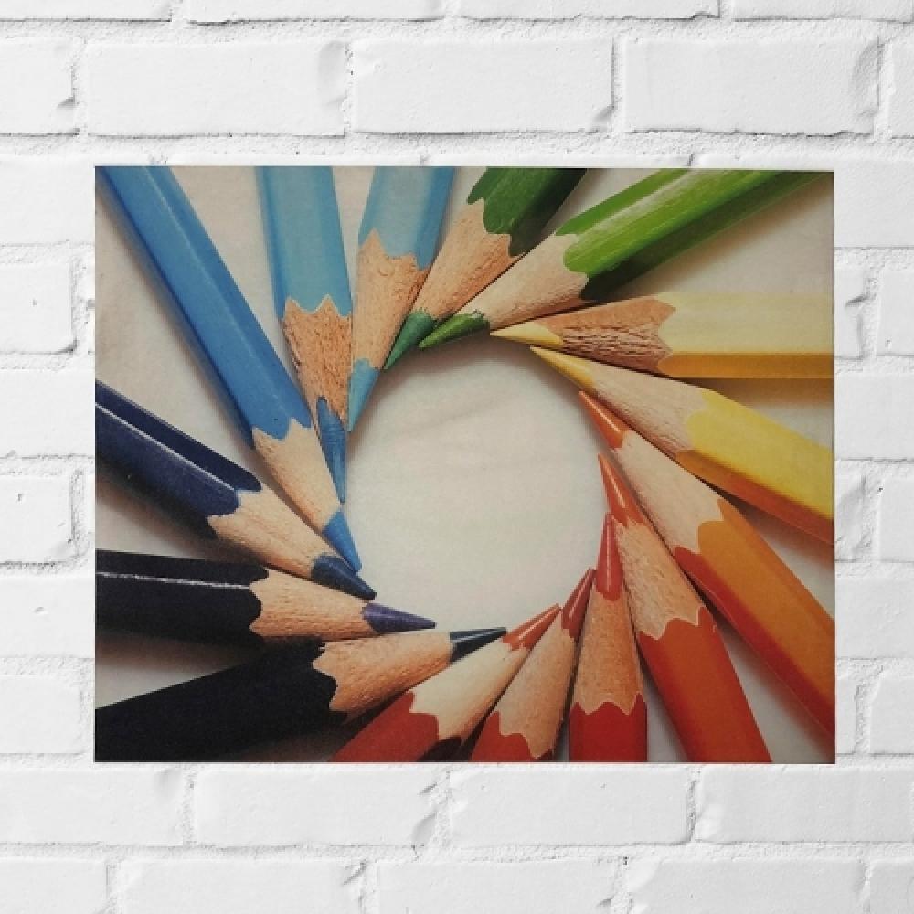 Quadro lápis coloridos circulo