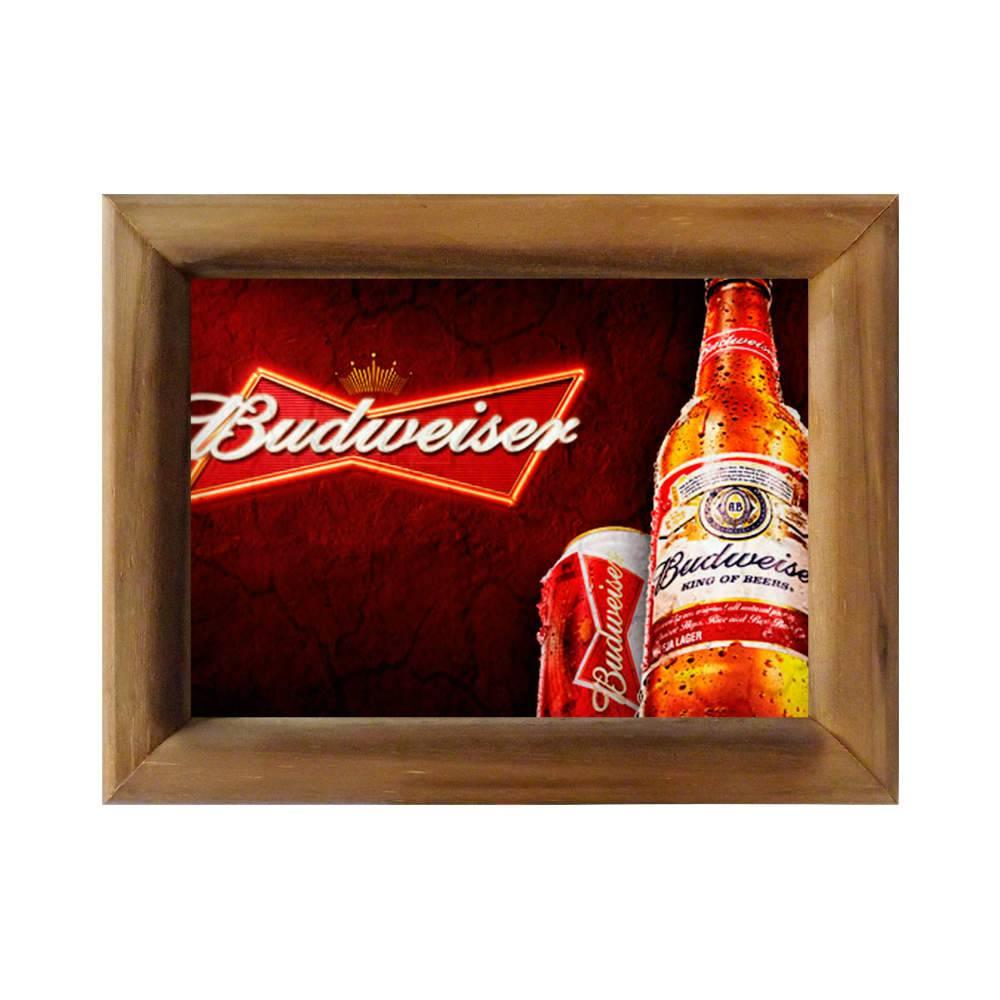 Quadro Lata e Garrafa de Cerveja Budweiser em Madeira - 26x20 cm