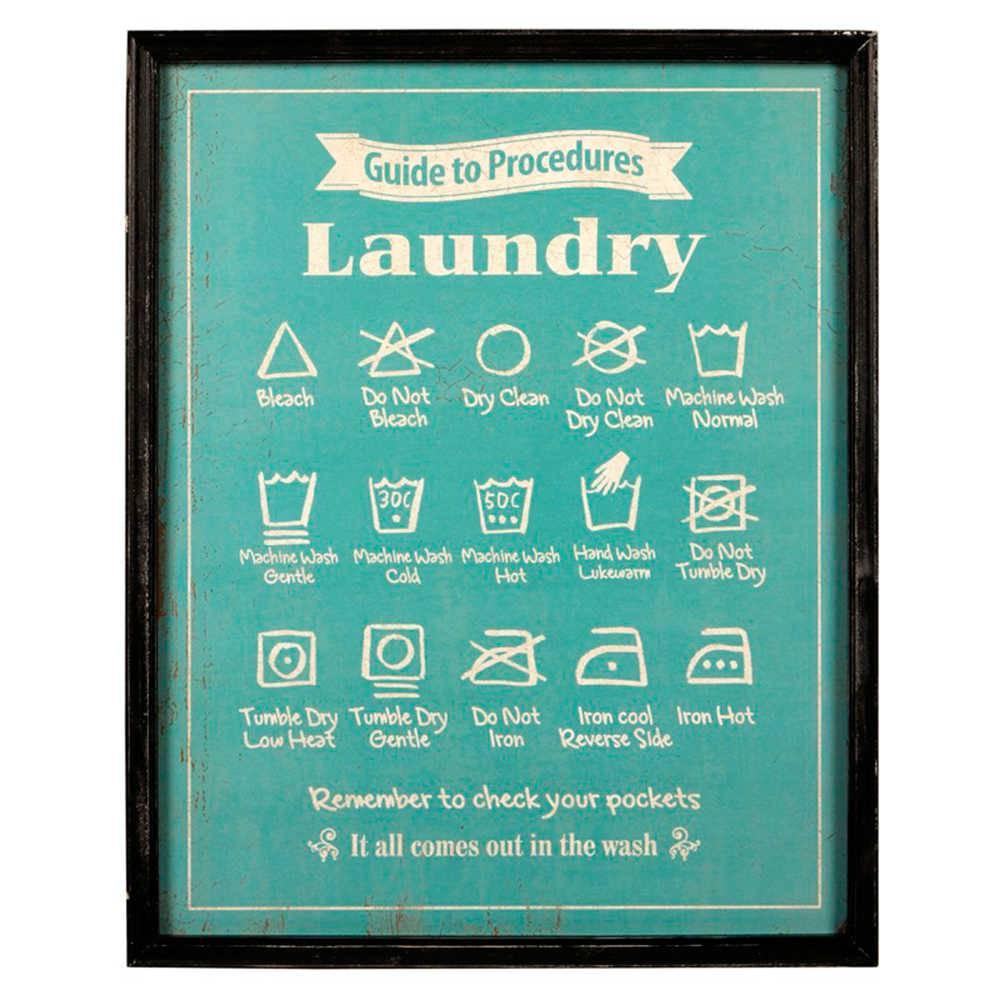 Quadro Laundry Azul e Branco em Madeira - 70x55 cm