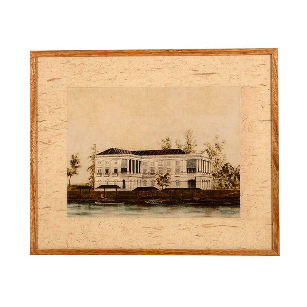 Quadro Le Maison com Fundo Bege em Madeira - 59x49 cm