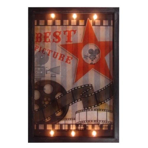 Quadro LED Cinema Movie em MDF - 60x40 cm