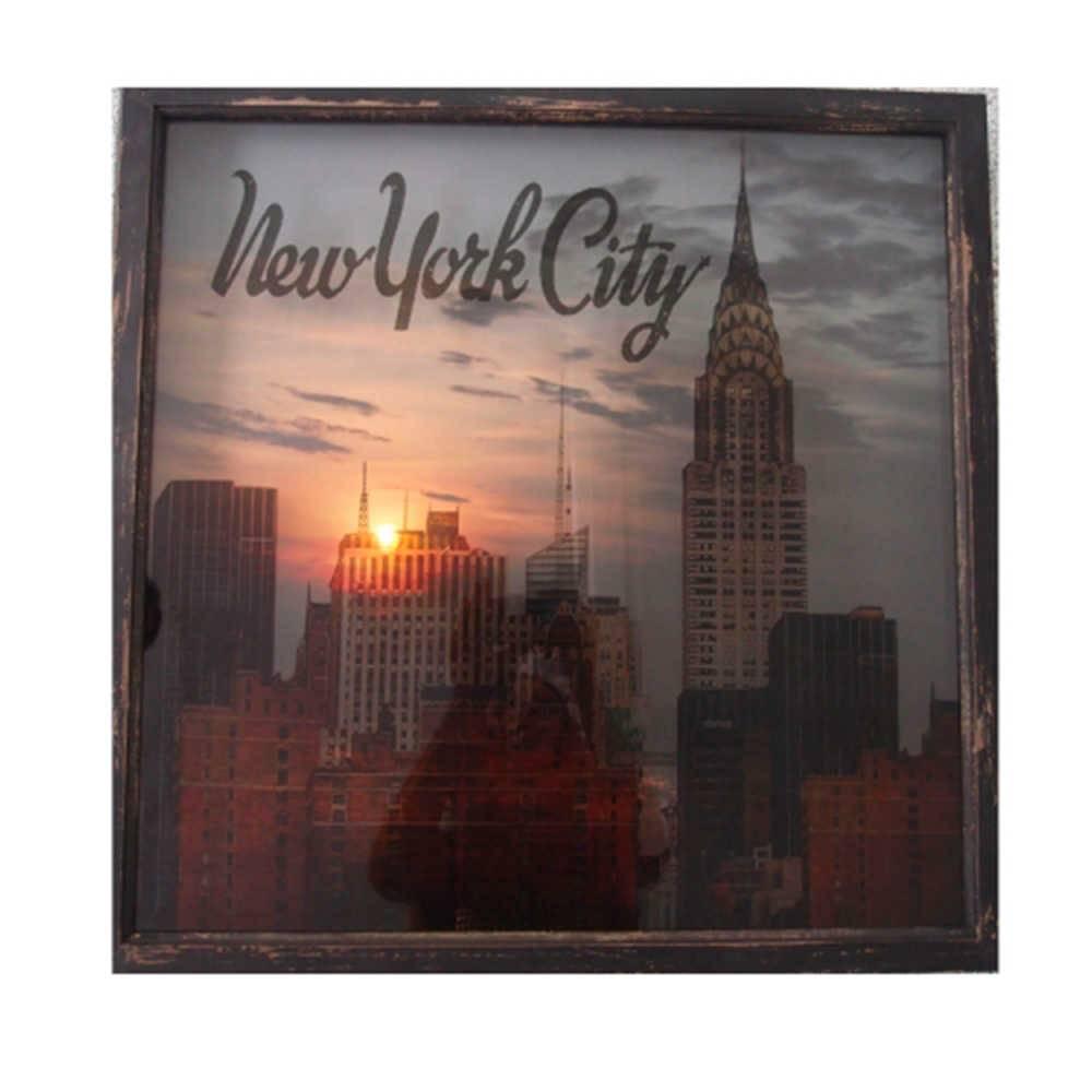 Quadro LED Cinema New York em MDF - 60x60 cm