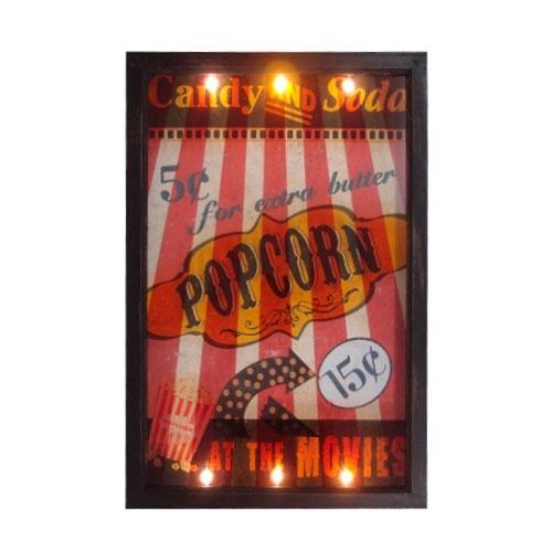 Quadro LED Cinema PopCorn Retrô em MDF - 60x40 cm