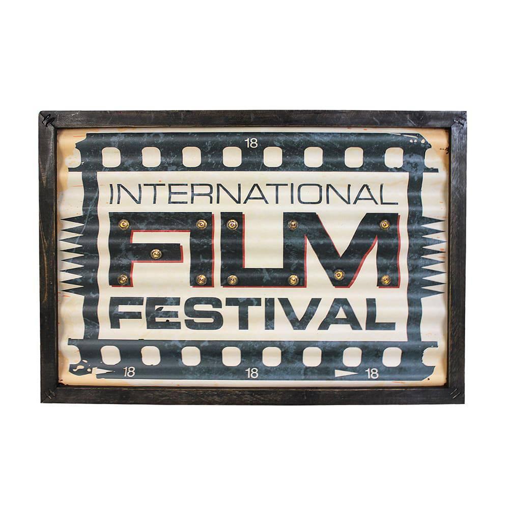 Quadro com Led  Film Festival Oldway em Metal - 43x30x4 cm