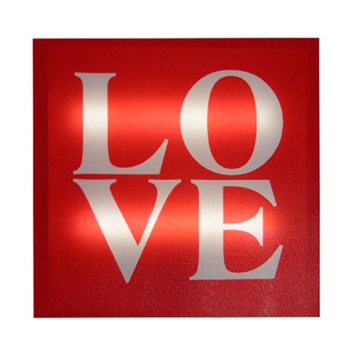 Quadro Led Love em MDF - 30x2 cm