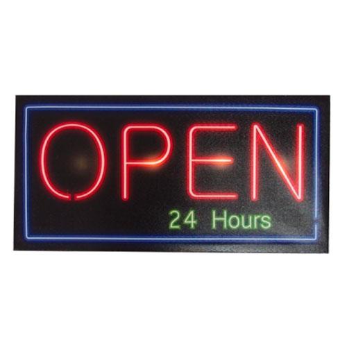 Quadro Led Open 24 Hours em MDF - 60x30 cm